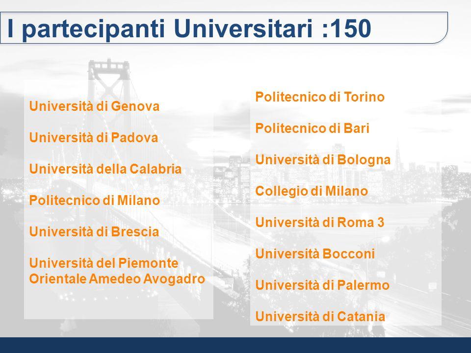 I partecipanti Universitari :150