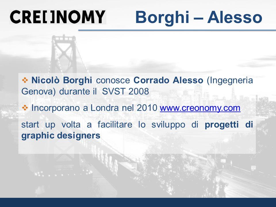 Borghi – Alesso Nicolò Borghi conosce Corrado Alesso (Ingegneria Genova) durante il SVST 2008. Incorporano a Londra nel 2010 www.creonomy.com.