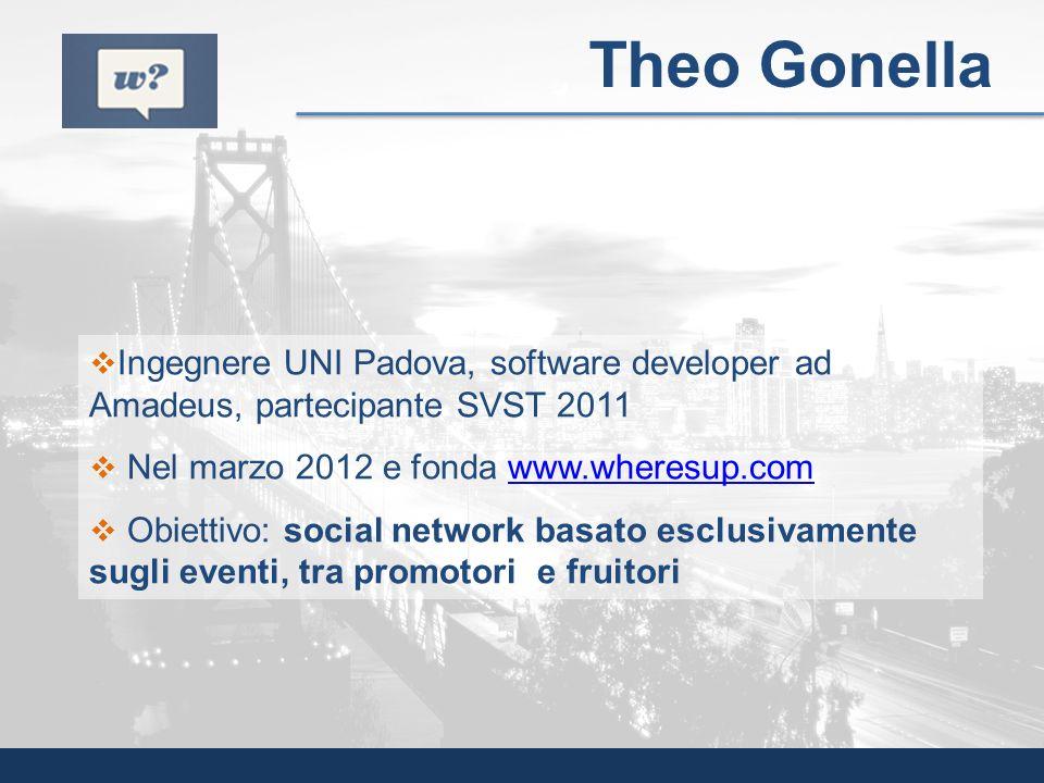 Theo Gonella Ingegnere UNI Padova, software developer ad Amadeus, partecipante SVST 2011. Nel marzo 2012 e fonda www.wheresup.com.