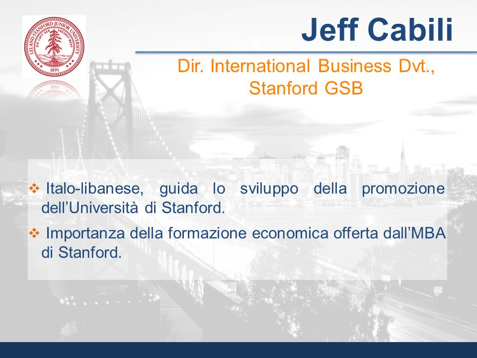Dir. International Business Dvt., Stanford GSB