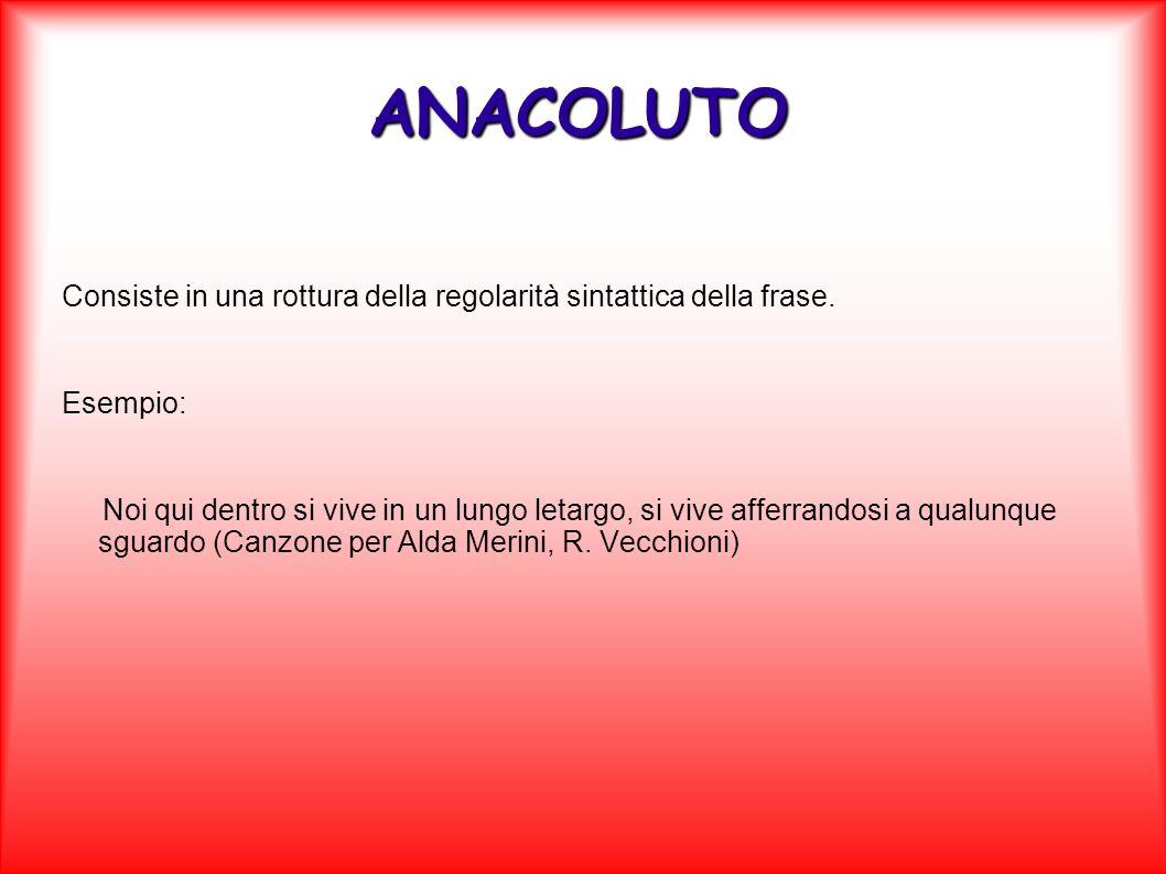 ANACOLUTO Consiste in una rottura della regolarità sintattica della frase. Esempio:
