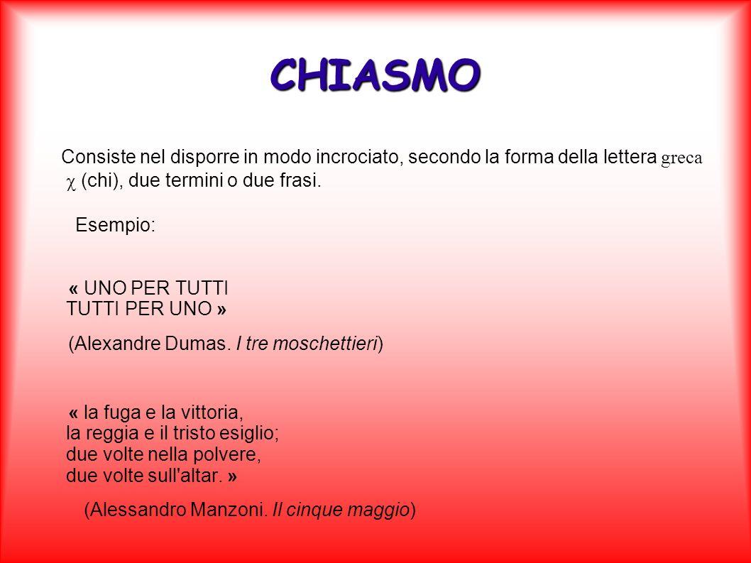 CHIASMO Consiste nel disporre in modo incrociato, secondo la forma della lettera greca c (chi), due termini o due frasi.
