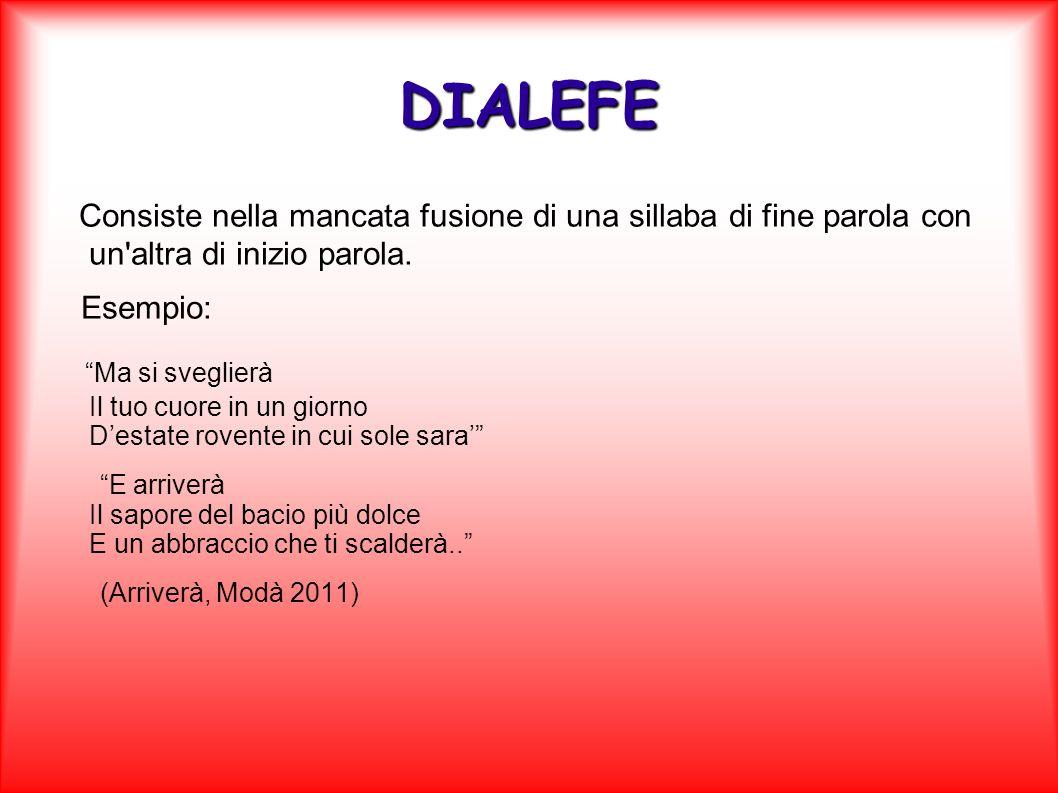 DIALEFE Consiste nella mancata fusione di una sillaba di fine parola con un altra di inizio parola.