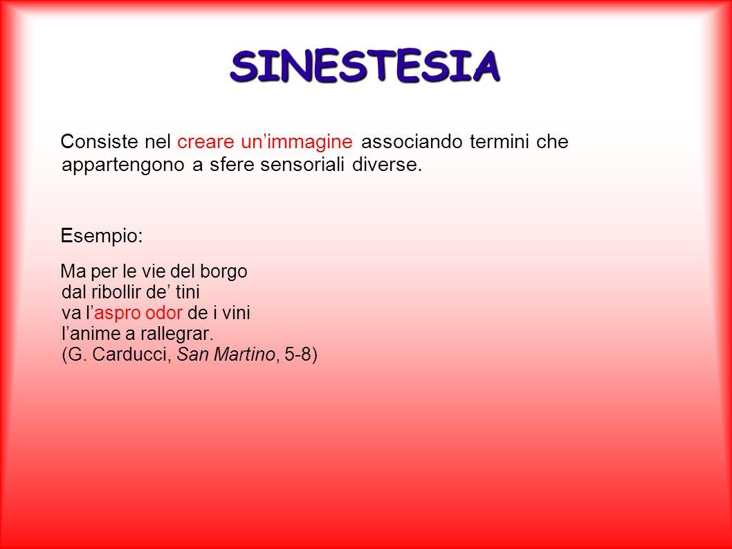SINESTESIA Consiste nel creare un'immagine associando termini che appartengono a sfere sensoriali diverse.
