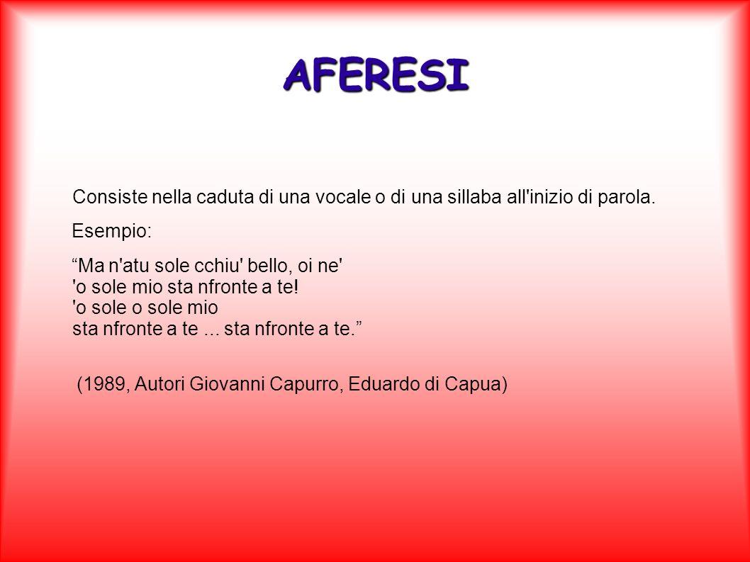 AFERESI Consiste nella caduta di una vocale o di una sillaba all inizio di parola. Esempio: