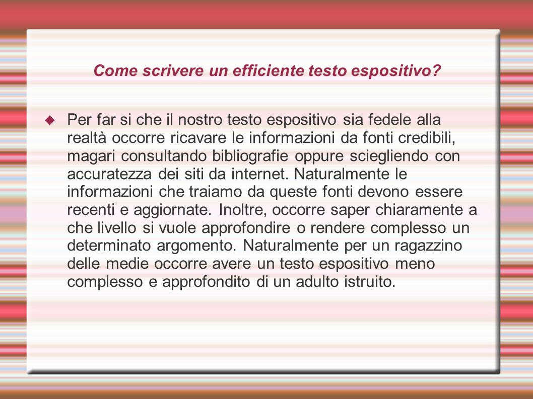 Come scrivere un efficiente testo espositivo