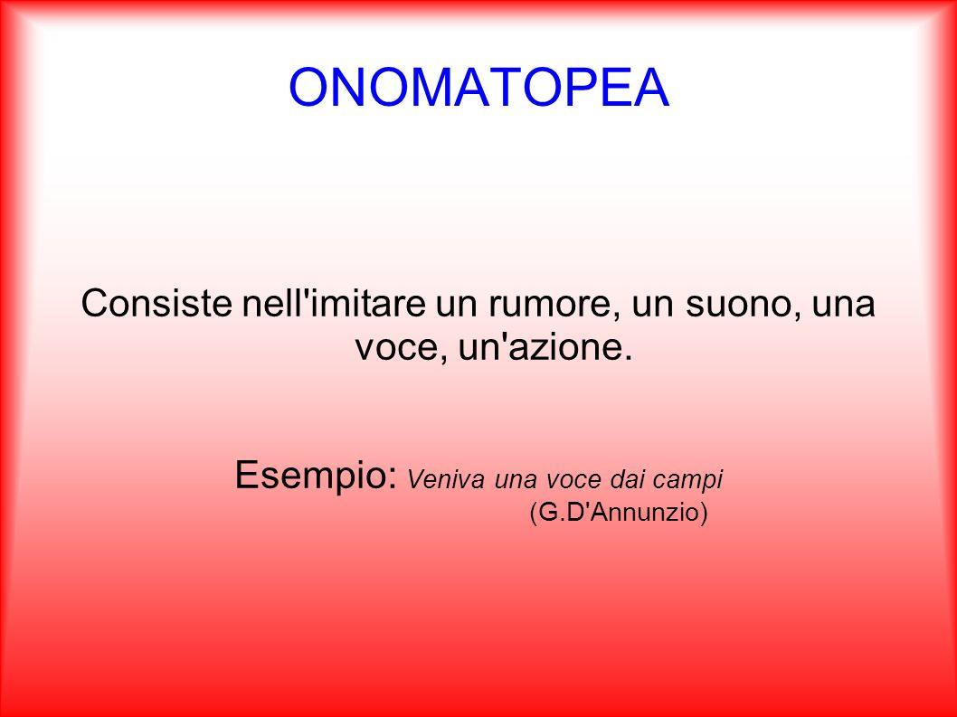 ONOMATOPEA Consiste nell imitare un rumore, un suono, una voce, un azione. Esempio: Veniva una voce dai campi.