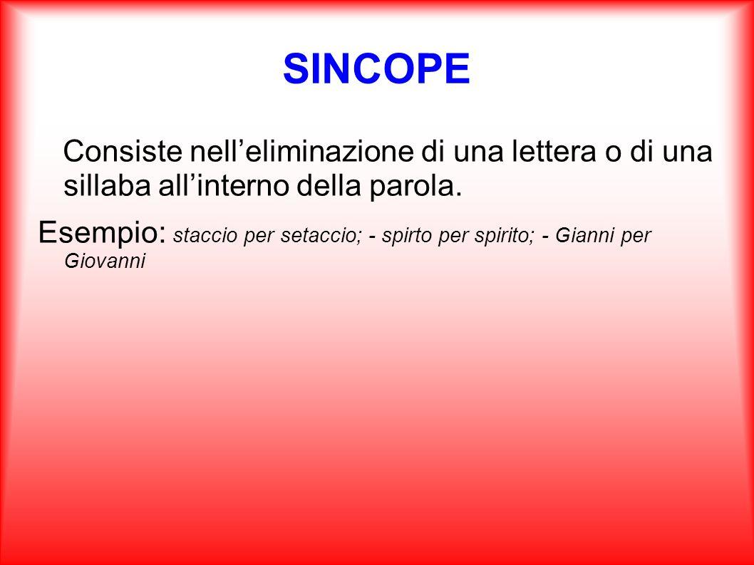SINCOPE Consiste nell'eliminazione di una lettera o di una sillaba all'interno della parola.