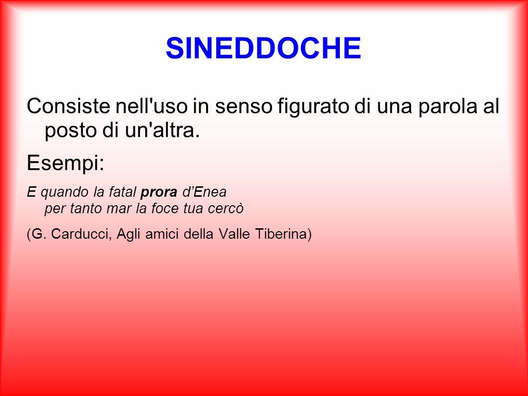 SINEDDOCHE Consiste nell uso in senso figurato di una parola al posto di un altra. Esempi: