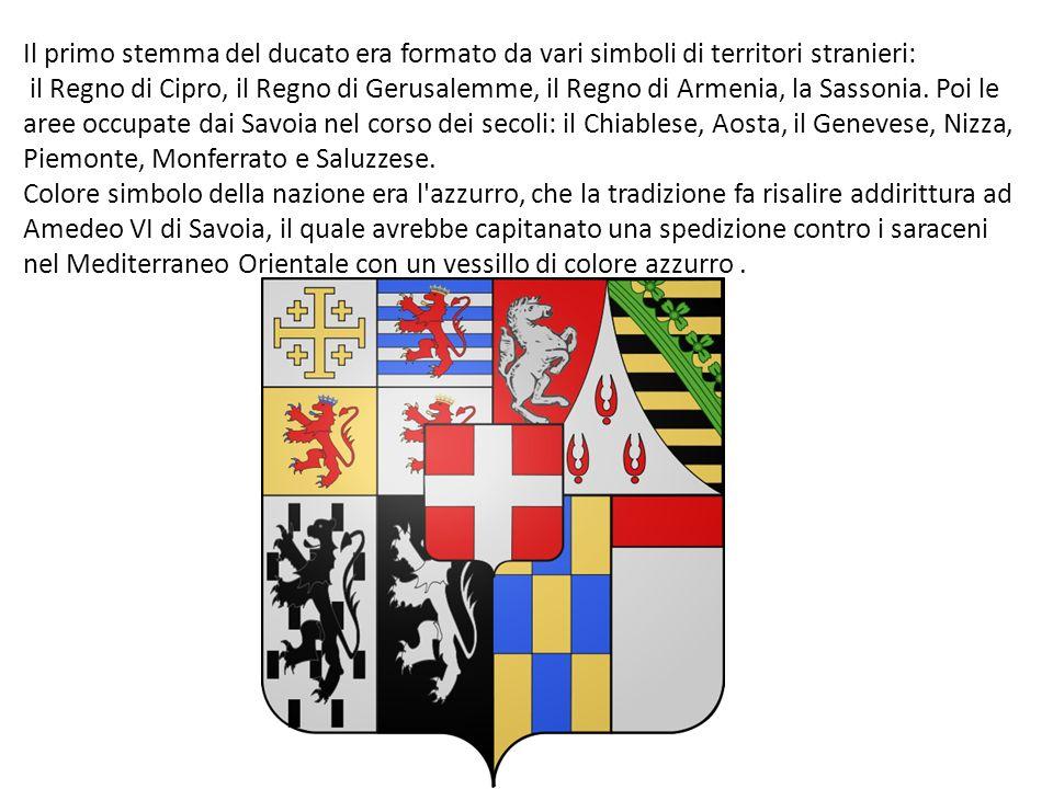 Il primo stemma del ducato era formato da vari simboli di territori stranieri: