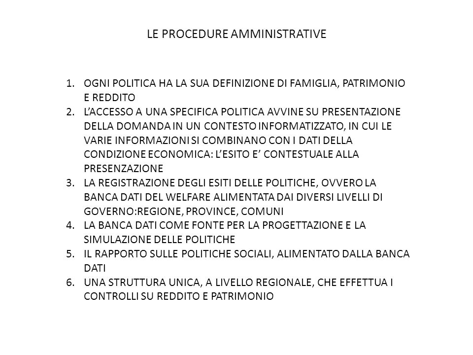 LE PROCEDURE AMMINISTRATIVE