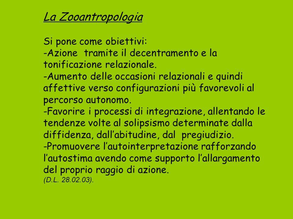 La Zooantropologia Si pone come obiettivi: