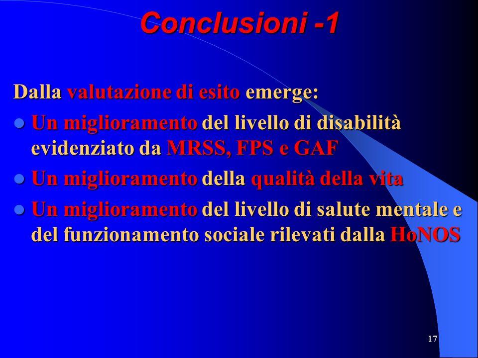Conclusioni -1 Dalla valutazione di esito emerge: