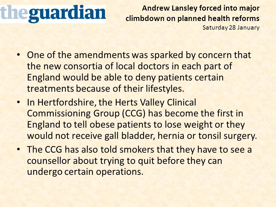Andrew Lansley forced into major climbdown on planned health reforms Saturday 28 January