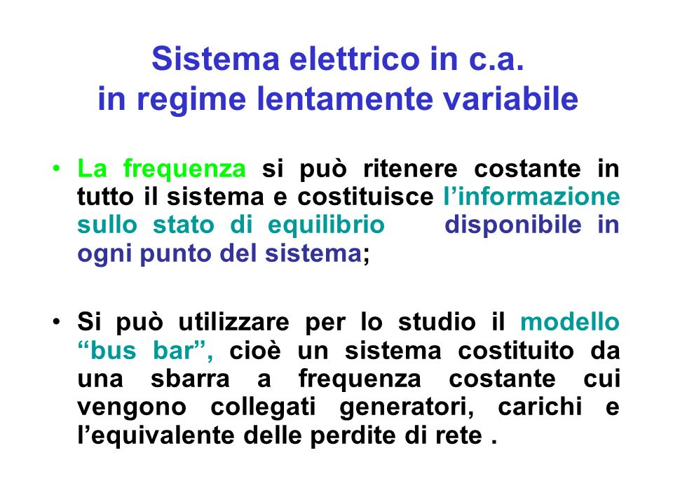 Sistema elettrico in c.a. in regime lentamente variabile