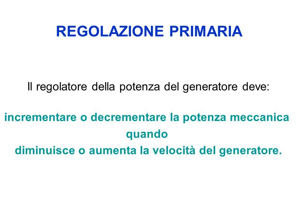 REGOLAZIONE PRIMARIA Il regolatore della potenza del generatore deve: