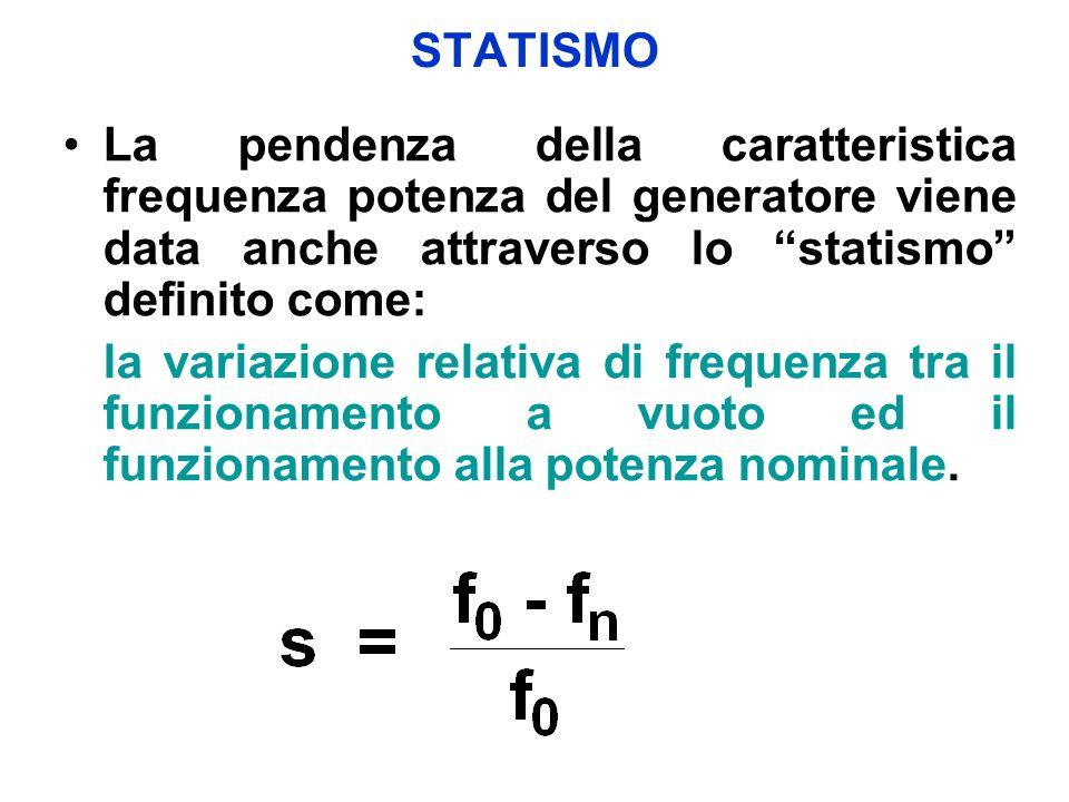 STATISMO La pendenza della caratteristica frequenza potenza del generatore viene data anche attraverso lo statismo definito come:
