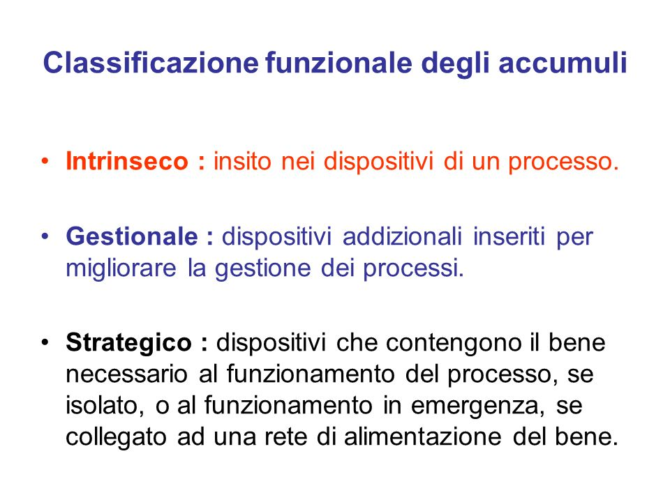 Classificazione funzionale degli accumuli