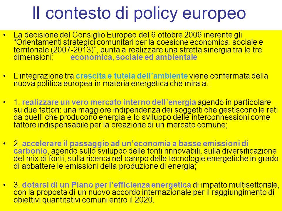 Il contesto di policy europeo