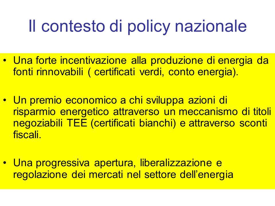 Il contesto di policy nazionale
