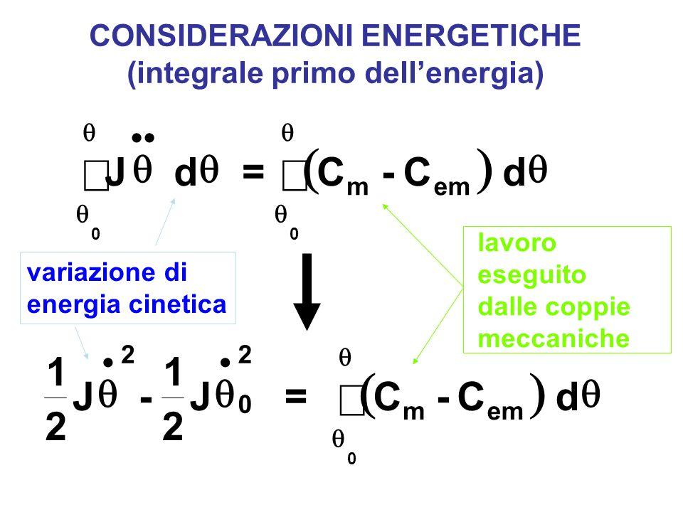 CONSIDERAZIONI ENERGETICHE (integrale primo dell'energia)