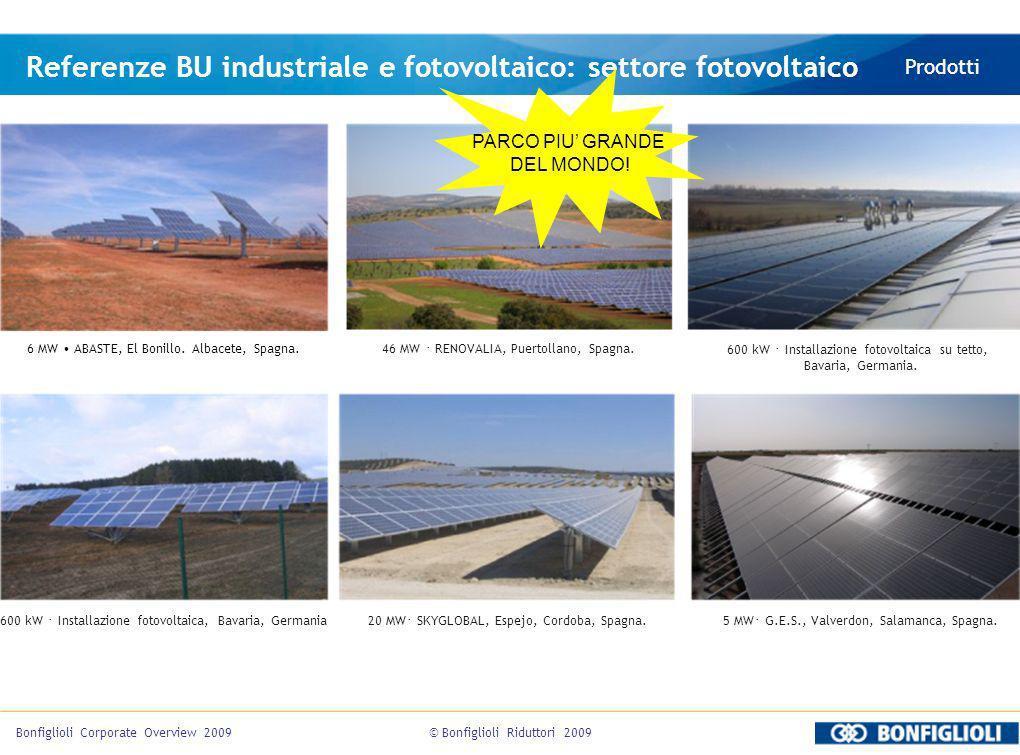 Referenze BU industriale e fotovoltaico: settore fotovoltaico