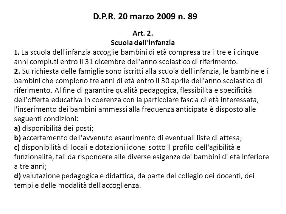 D.P.R. 20 marzo 2009 n. 89 Art. 2. Scuola dell infanzia