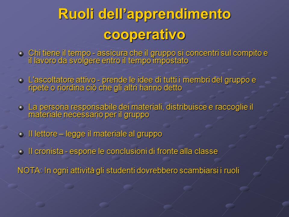 Ruoli dell'apprendimento cooperativo
