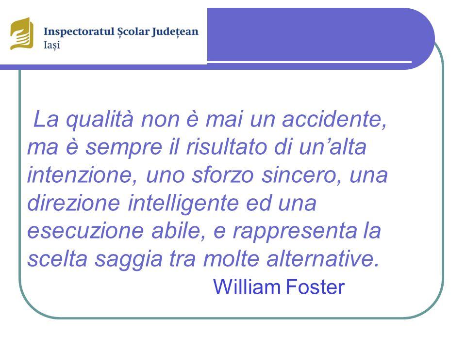 La qualità non è mai un accidente, ma è sempre il risultato di un'alta intenzione, uno sforzo sincero, una direzione intelligente ed una esecuzione abile, e rappresenta la scelta saggia tra molte alternative. William Foster