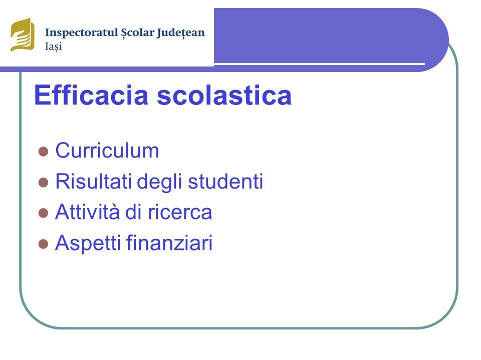 Efficacia scolastica Curriculum Risultati degli studenti