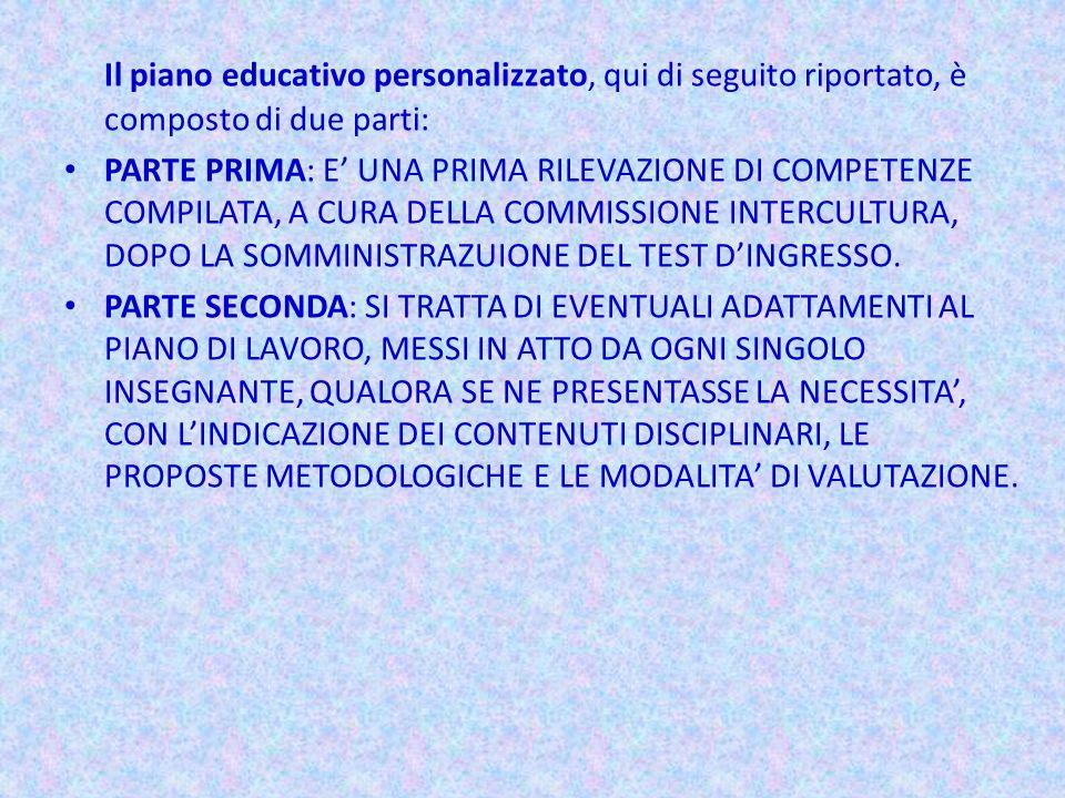 Il piano educativo personalizzato, qui di seguito riportato, è composto di due parti: