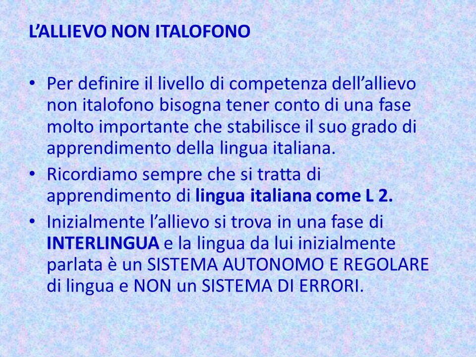 L'ALLIEVO NON ITALOFONO