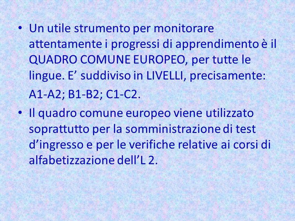 Un utile strumento per monitorare attentamente i progressi di apprendimento è il QUADRO COMUNE EUROPEO, per tutte le lingue. E' suddiviso in LIVELLI, precisamente: