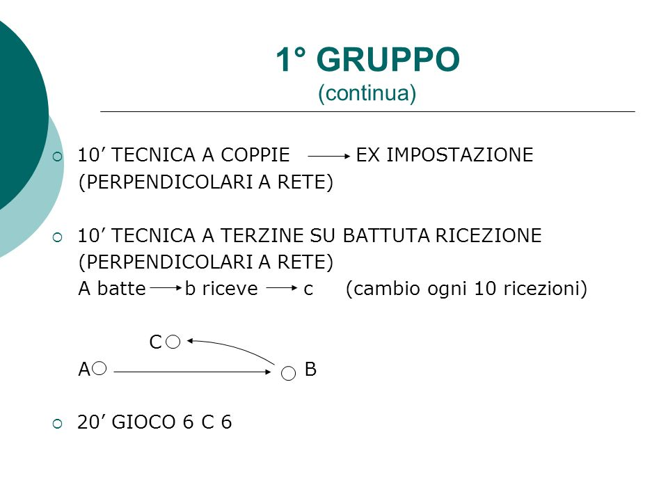 1° GRUPPO (continua) 10' TECNICA A COPPIE EX IMPOSTAZIONE
