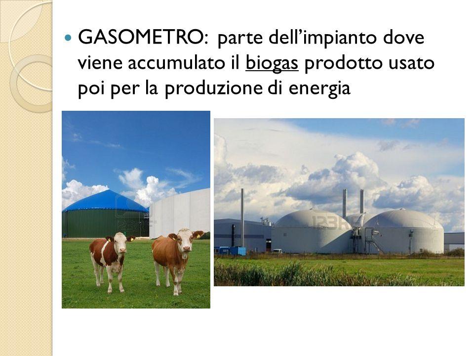 GASOMETRO: parte dell'impianto dove viene accumulato il biogas prodotto usato poi per la produzione di energia