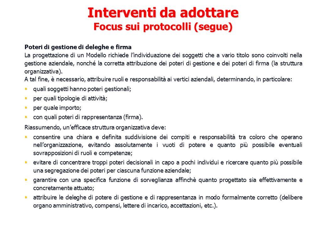 Interventi da adottare Focus sui protocolli (segue)