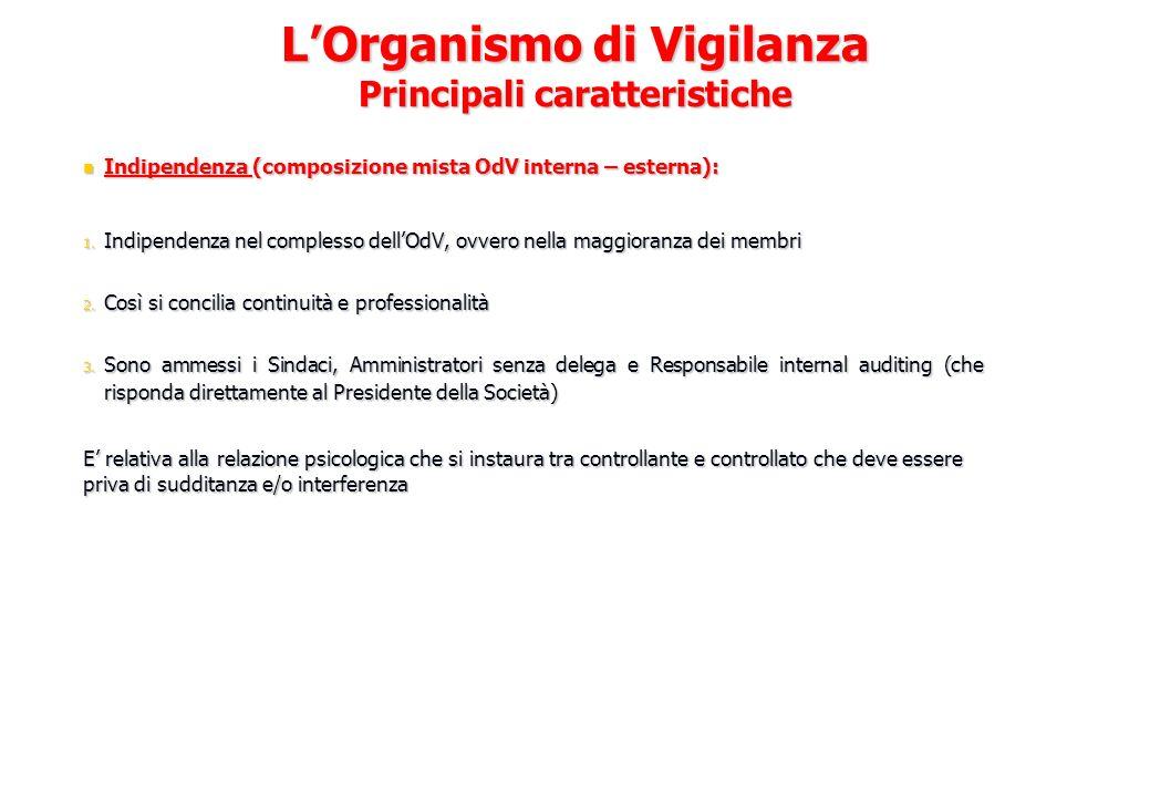 L'Organismo di Vigilanza Principali caratteristiche
