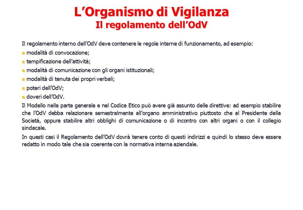 L'Organismo di Vigilanza Il regolamento dell'OdV