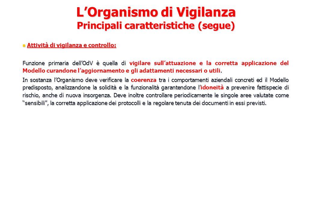 L'Organismo di Vigilanza Principali caratteristiche (segue)