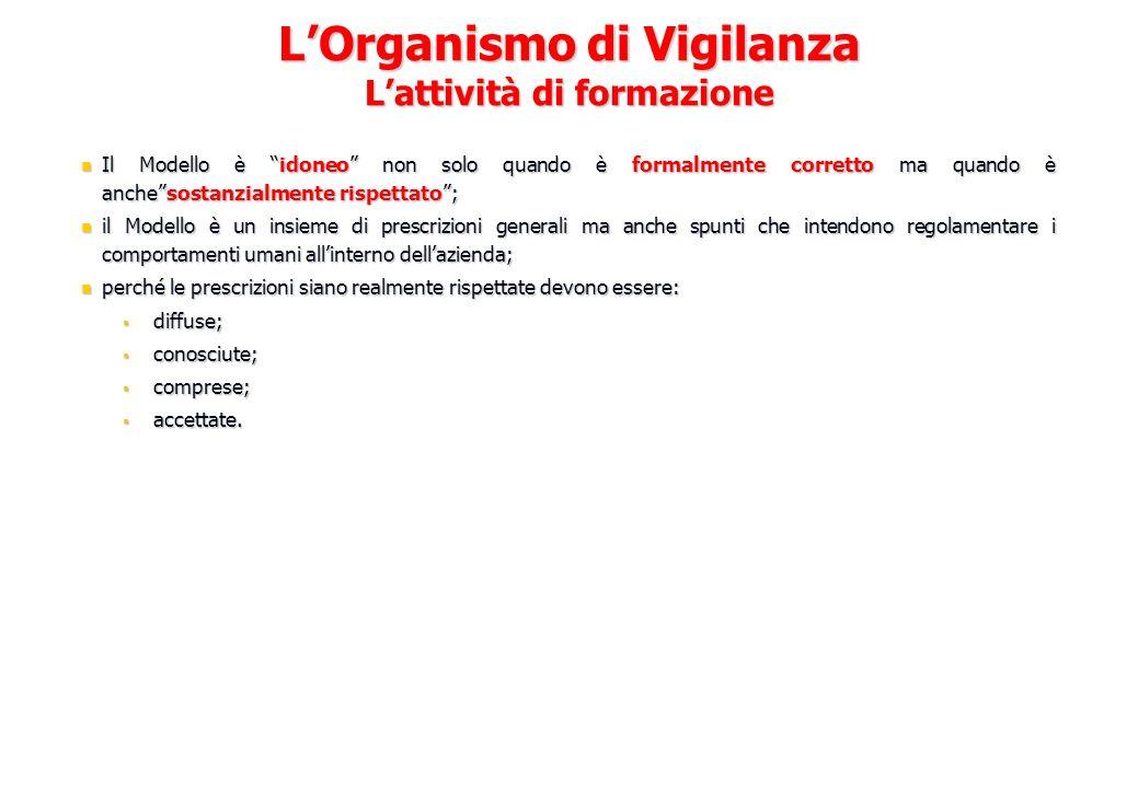 L'Organismo di Vigilanza L'attività di formazione