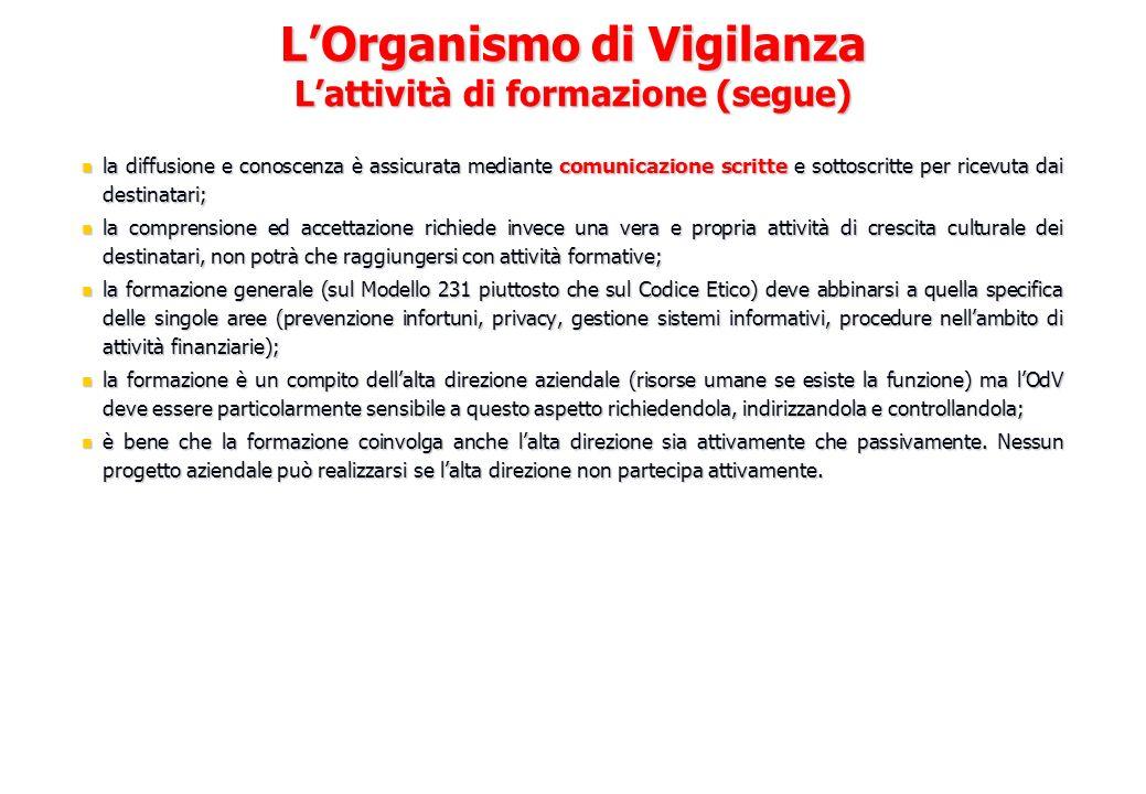 L'Organismo di Vigilanza L'attività di formazione (segue)