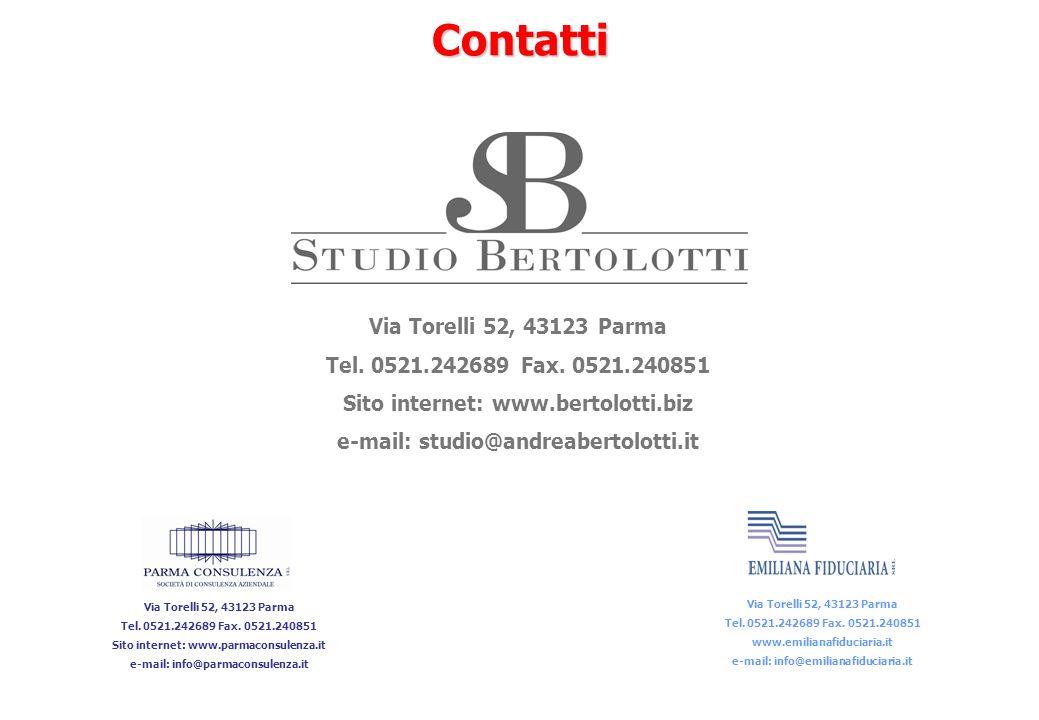 Contatti Via Torelli 52, 43123 Parma Tel. 0521.242689 Fax. 0521.240851