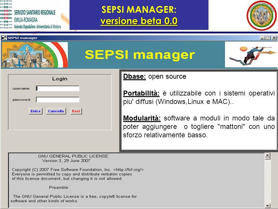 SEPSI MANAGER: versione beta 0.0
