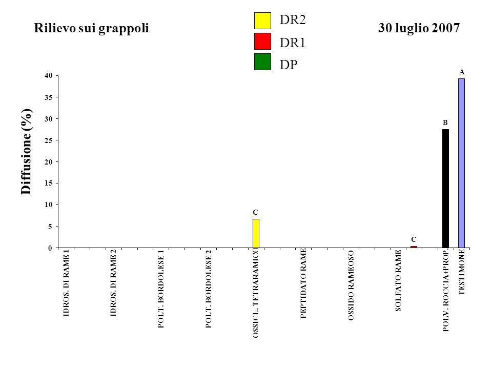 DR2 Rilievo sui grappoli 30 luglio 2007 DR1 DP Diffusione (%) A B C 5