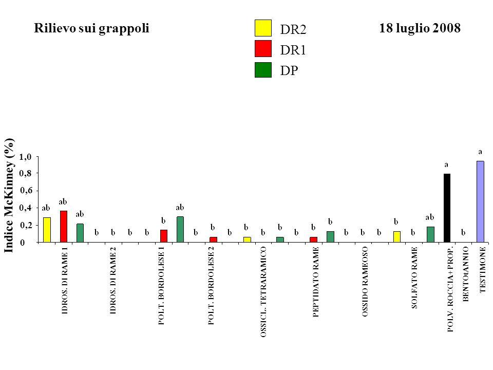 Rilievo sui grappoli DR2 18 luglio 2008 DR1 DP Indice McKinney (%) 1,0