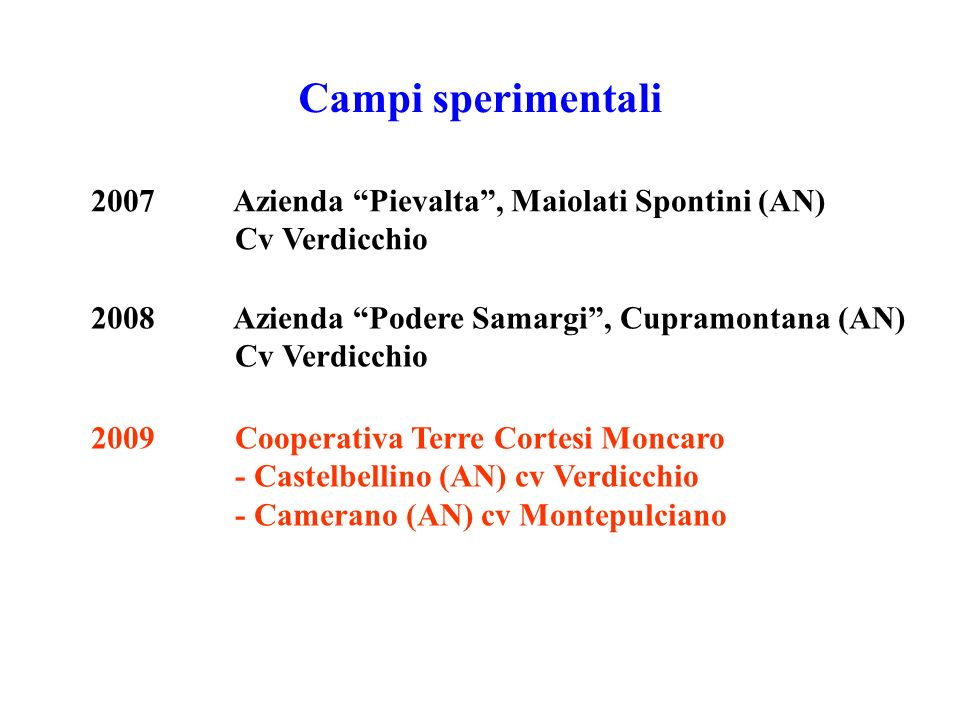 Campi sperimentali 2007 Azienda Pievalta , Maiolati Spontini (AN)
