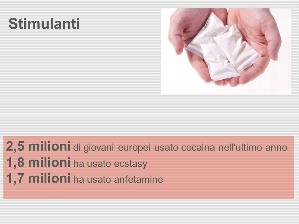Stimulanti 2,5 milioni di giovani europei usato cocaina nell ultimo anno 1,8 milioni ha usato ecstasy 1,7 milioni ha usato anfetamine.
