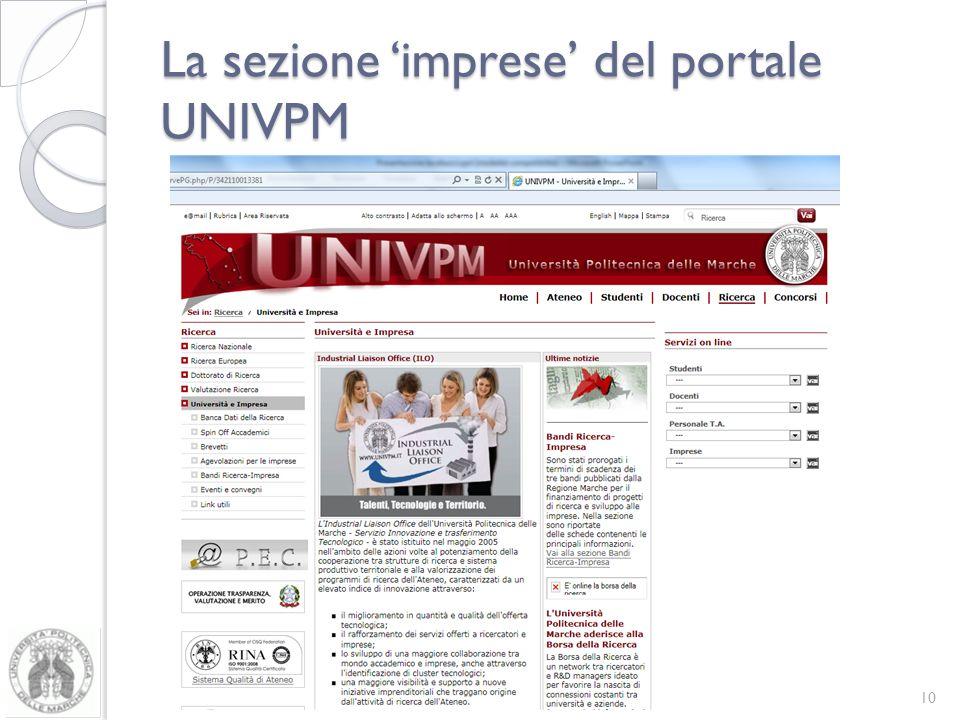 La sezione 'imprese' del portale UNIVPM