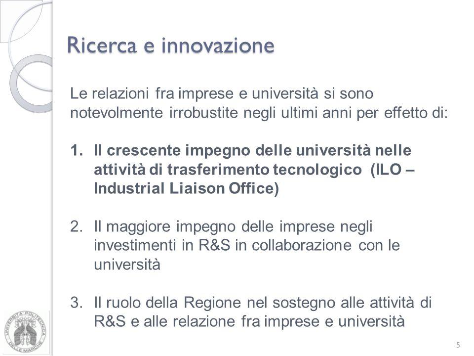 Ricerca e innovazione Le relazioni fra imprese e università si sono notevolmente irrobustite negli ultimi anni per effetto di: