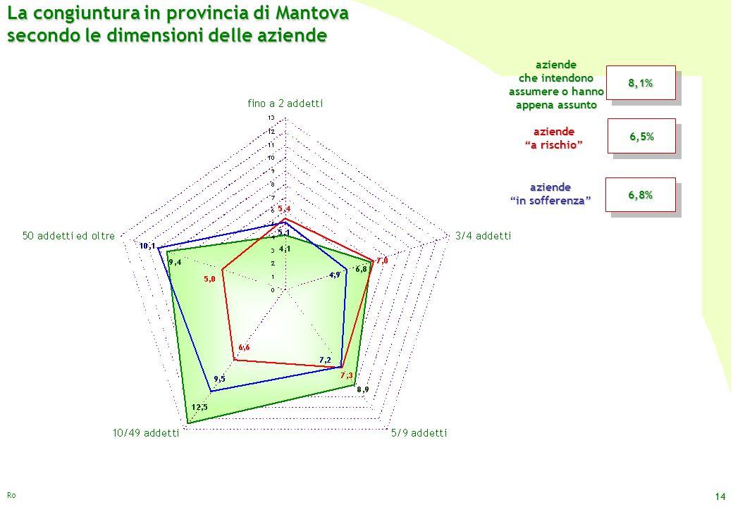 La congiuntura in provincia di Mantova secondo le dimensioni delle aziende